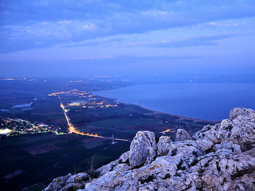 The Sea of Galilee from Mount Arbel at night. Photo by Ferrell Jenkins.