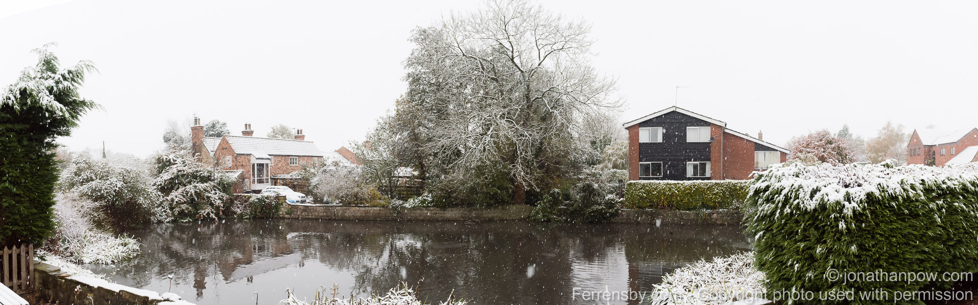 The village pond   Weather - Early November snow in the North Yorkshire village of Ferrensby, near Knaresborough - Picture date Wednesday 09 November, 2016 (Ferrensby, North Yorkshire)   Photo credit should read: Jonathan Pow/jp@jonathanpow.com   REF : POW_161109_3832-Pano