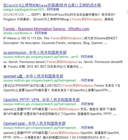 "Google搜索""""Ferrets家的wordpress"" -site:ferrets.in -site:sngr.org"""