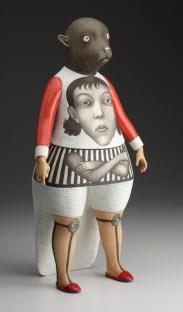 "Sergei Isupov, ""Future"" 2011, porcelain, slip, glaze, 15.5 x 6 x 8""."