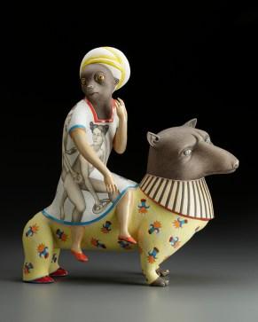 "Sergei Isupov, ""Lift: Monkey"" 2011, porcelain, slip, glaze, 17.375 x 16.25 x 6.125""."