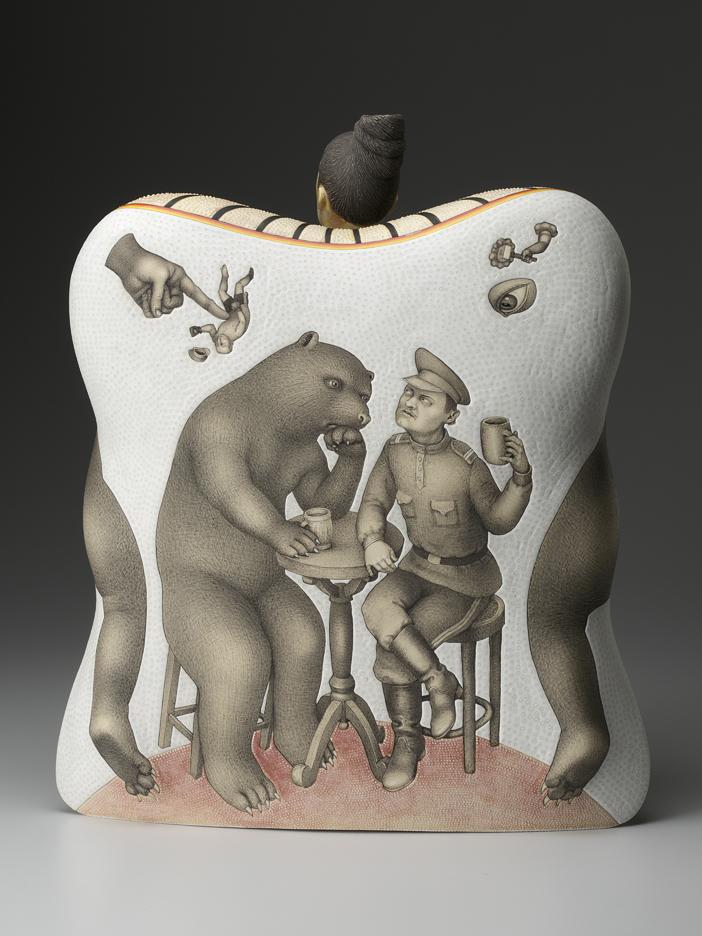 "Sergei Isupov, ""Dangerous Friendship"" 2012, reverse, porcelain, slip, glaze, 18.5 x 16.5 x 8""."
