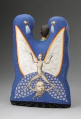 "Sergei Isupov, ""Free Ride"" 2012, reverse, porcelain, slip, glaze, 20.5 x 14 x 6""."