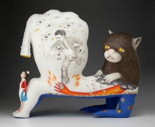 """Sergei Isupov, """"Speech of the Wild Animal"""" 2012, porcelain, slip, glaze, 24.5 x 29 x 10""""."""