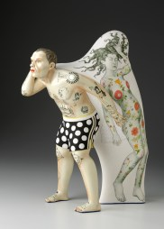"Sergei Isupov, ""The Orchard"" 2012, porcelain, slip, glaze, 20.5 x 14 x 7.5""."