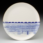 "Paul Scott, ""Cumbrian Blue(s) – Alberta No: 3"" 2013, in-glaze decal, gold lustre on Hycroft Potteries earthenware plate, 11.5″ diameter."