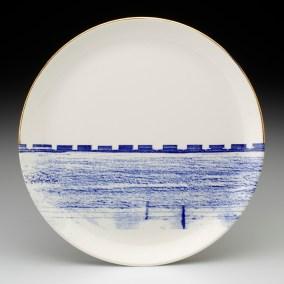"Paul Scott, ""Cumbrian Blue(s) – Alberta No: 3"" 2013, in-glaze decal, gold lustre on Hycroft Potteries earthenware plate, 11.5″ diameter."