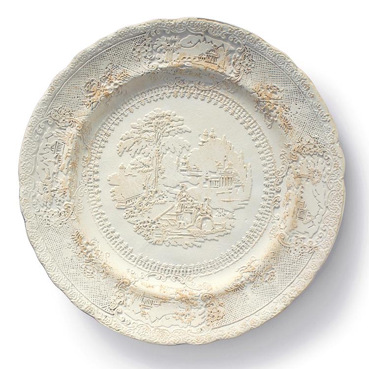 "Caroline Slotte, ""Tracing Series (5)"" 2015, reworked, second-hand ceramics, 10.5""."