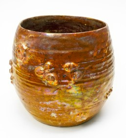"Beatrice Wood, ""Luster Vessel"" c. 1970, stoneware or earthenware, 6 x 6.5 x 6.5""."