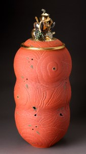 "Ralph Bacerra, ""Large Untitled Vessel"" 1999, lustre, glaze, earthenware, 33 x 14""."