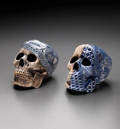 "Stephen Bowers, ""Explorers' Skulls"" 2010, slip cast, oxide stains, underglaze, 5.25""."