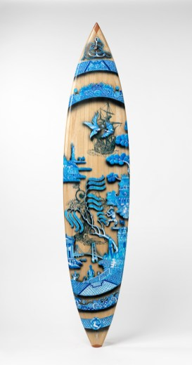 "Stephen Bowers, ""Walk the Plank"" 2013, handmade surfboard (shaped by Peter Walker from paulownia timber), painted decoration, fiber-glass, resin, 7'7"" x 22""."