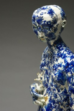 "Claire Curneen, ""Guardian (detail)"" 2012, porcelain, cobalt, and gold lustre, 29.5""."