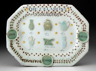 "Mara Superior, ""The Celadons,"" 2016, porcelain, Celadon glazes, gold leaf, 14 x 18 x 2.5""."
