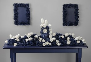 """Giselle Hicks, """"And Then It Was Still II"""" 2012, detail, vitreous china porcelain, wood, 48 x 60 x 24""""."""