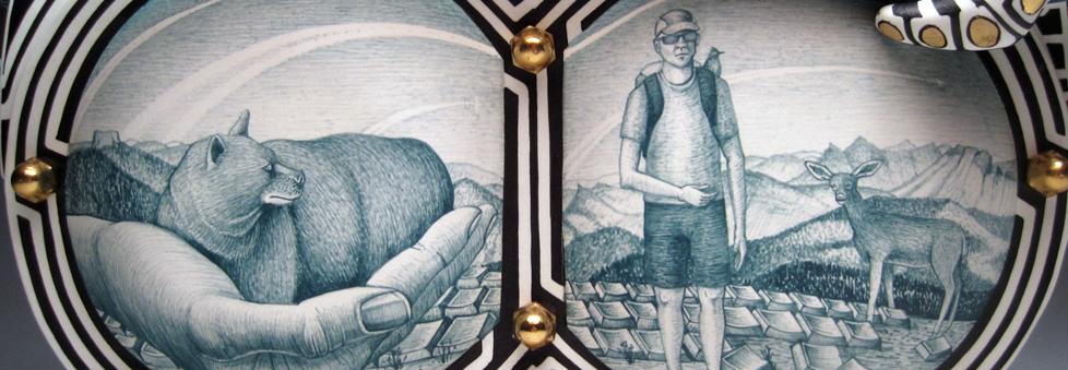 "Jason Walker, ""A Hand in Two Worlds"" detail, 2009, porcelain, underglaze, concrete, 13.5 x 19 x 7""."