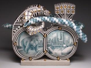 "Jason Walker, ""A Hand in Two Worlds"" 2009, porcelain, underglaze, concrete, 13.5 x 19 x 7""."
