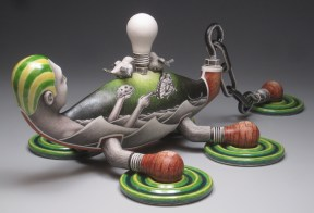 "Jason Walker, ""Capsized"" 2011, porcelain, china paint, overglaze enamel, 8.5 x 25 x 12""."