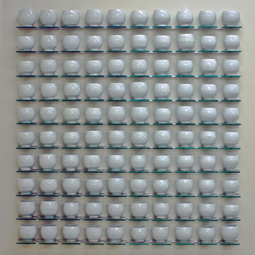 """Steven Young Lee, """"White Cup Panel"""" 2013, porcelain, 46 x 50 x 4""""."""