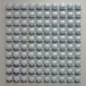 "Steven Young Lee, ""White Cup Panel"" 2013, porcelain, 46 x 50 x 4""."