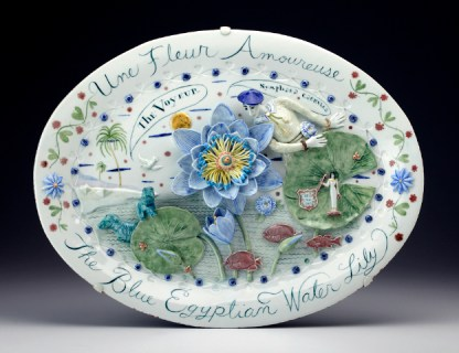 """Mara Superior, """"Une Fleur Amoureaux, A Flower in Love"""" 2010, porcelain, glaze, 16 x 20 x 1.5""""."""