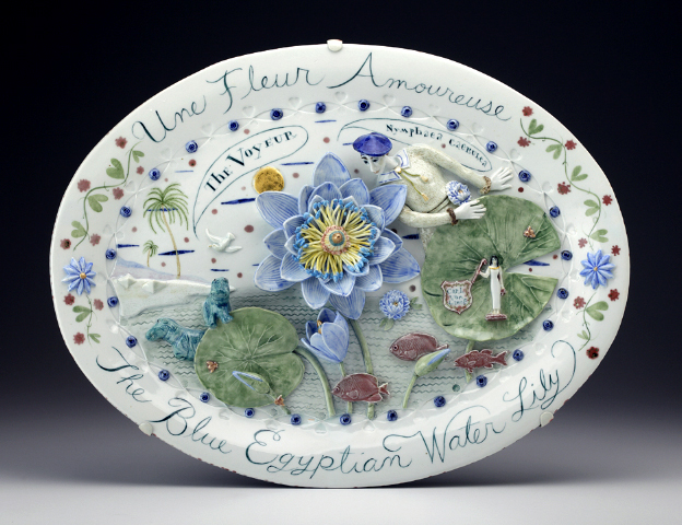 "Mara Superior, ""Une Fleur Amoureaux, A Flower in Love"" 2010, porcelain, glaze, 16 x 20 x 1.5""."