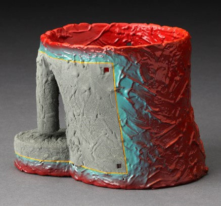 "Ron Nagle, ""S.D.I. Eleventh Hour"" 1989, earthenware, China paints, 3.5 x 4.75 x 3.25""."