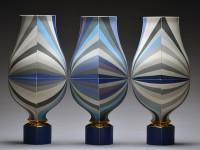 "Peter Pincus, ""Vessels"" 2016, porcelain, slip, gold lustre, 21 x 30 x 8""."