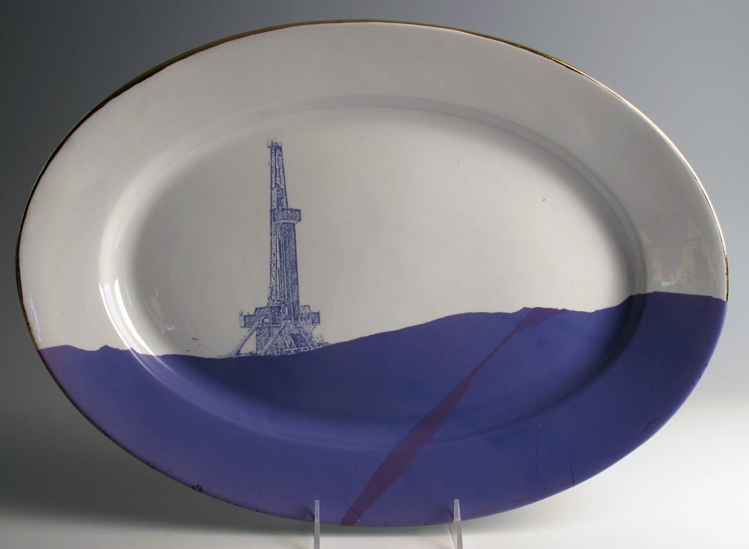 "Paul Scott, ""Paul Scott, ""Cumbrian Blue(s), American Scenery, Fracked No. 2″ 2013, inglaze decal collage, gold luster on ironstone platter (c.1860?), 8.5 x 1""."