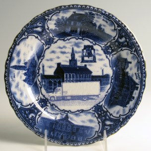"Paul Scott, ""Cumbrian Blue(s), American Scenery, Souvenir of Philadelphia"" 2013, Inglaze decal collage, gold luster on Souvenir plate England unknown manufacture c. 1900, 8.5 x 1""."