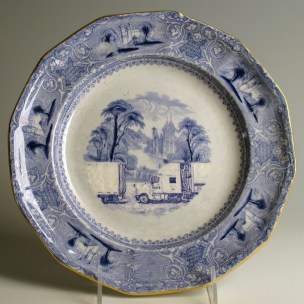 """Paul Scott, """"Scott's Cumbrian Blue(s), American Scenery, (Untitled)"""" 2013, Inglaze decal collage, gold luster on partially erased Lozere Ironstone plate c.1840, 9.75 x 1""""."""
