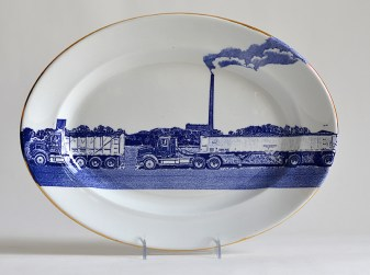 """Paul Scott, """"Scott's Cumbrian Blue(s), American Scenery, Residual Waste No: 2."""" 2015, in-glaze decal collage, gold lustre, on James Edwards & Son, Stone China, Dalehall. Ironstone platter c. 1850."""