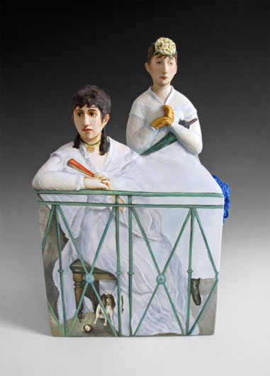 "Kadri Pärnamets, ""The Balcony after Edouard Manet"" 2015, porcelain, slip, glaze, 9 x 8.5 x 12.75""."