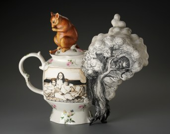 "Kadri Pärnamets, ""Steam from Tea - Tribute to Alice in Wonderland"" 2016, porcelain, slip, glaze, ceramic decals, 17.5 x 6 x 15.25""."