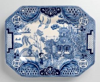 "Stephen Bowers, ""Antipodean Willow"" 2013, press molded, earthenware, underglaze, glaze, 12 x 9.5""."