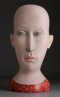 """Sergei Isupov, """"Modesty"""" 2008, stoneware, stain, glaze, 34 x 15.5 x 11""""."""