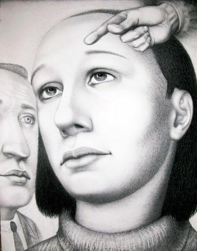 "Sergei Isupov, ""Adieu"" 2009, charcoal on paper, 65 x 40""."