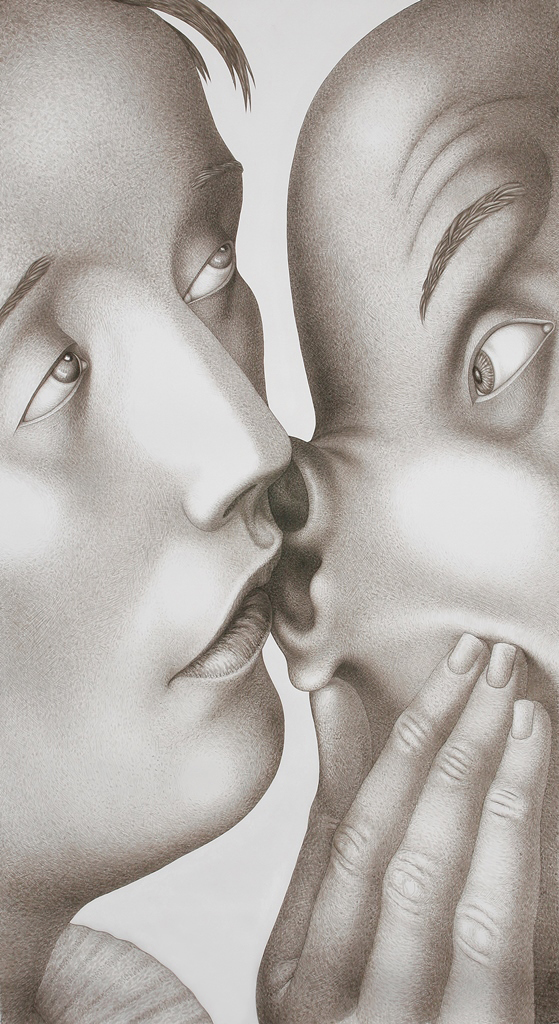 "Sergei Isupov, ""Learn"" 2006, gouache on paper, 94 x 52""."