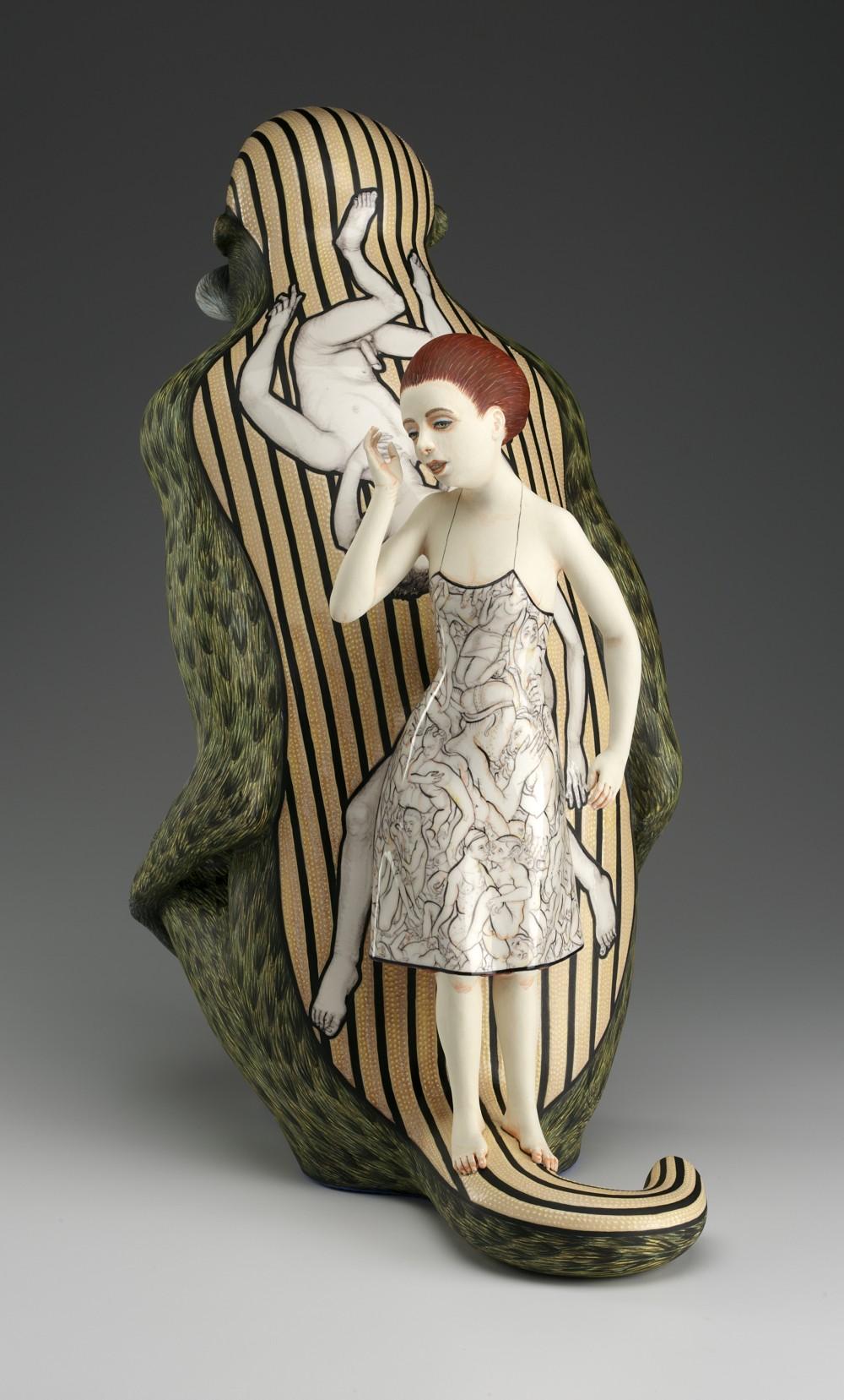 "Sergei Isupov, ""The Fear Has Big Eyes"" 2013, detail, porcelain, slip, glaze, 21 x 19 x 11""."
