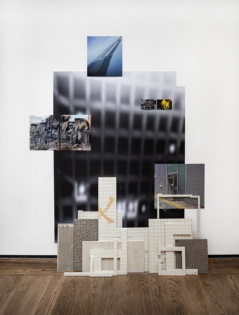 """Robert Silverman, """"f(e)ff (Everson)"""" 2016, porcelain, wallpaper, photographs, aluminum, pins, tap, 22 x 7'."""