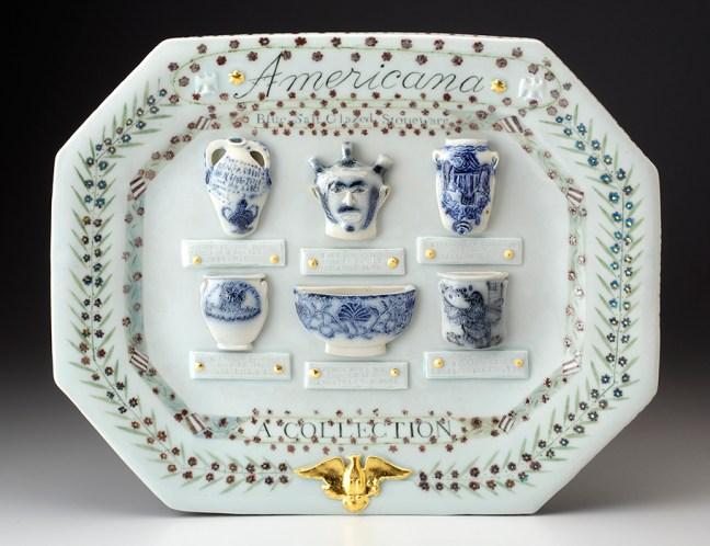 "Mara Superior, ""Americana: A Collection of Blue Salt-glazed Stoneware"" 2016, porcelain, glaze, gold leaf, 15 x 19 x 2""."