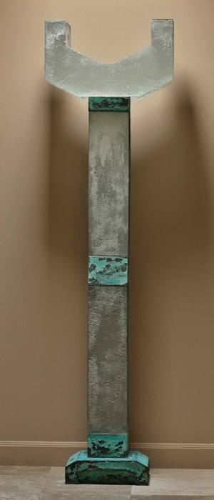 "Howard Ben Tré, ""Column #32"" 1986, glass, copper, 96 x 26.5 x 12""."