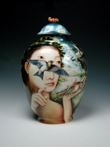 "Kurt Weiser, ""Nightshade"" 2013, china painted porcelain, 19 x 12 x 8""."