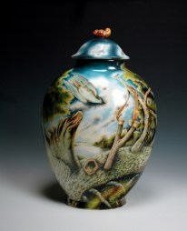 "Kurt Weiser, ""Nightshade"" 2013, reverse, china painted porcelain, 19 x 12 x 8""."