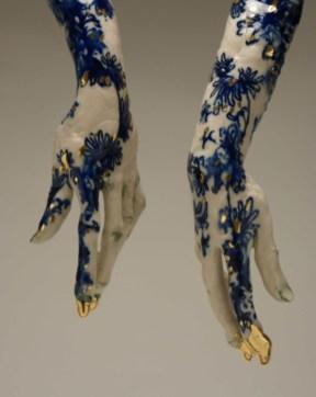 """Claire Curneen, """"Blue"""" (detail), 2013, porcelain, cobalt, gold luste, 24 x 21 x 6""""."""