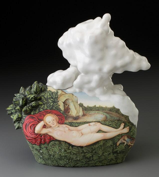 """Kadri Pärnamets, """"Nymph of Spring"""" 2015, porcelain, slip, glaze, 14 x 13 x 7"""". photo: John Polak"""