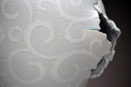 """Steven Young Lee, """"Meiping Vase with Scroll Pattern"""" detail, 2014, porcelain, white slip, glaze, 18 x 12 x 11""""."""
