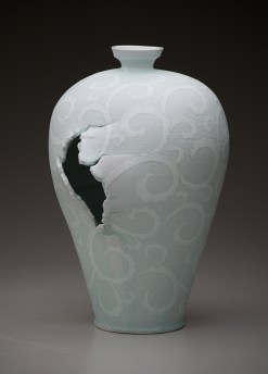 "Steven Young Lee, ""Meiping Vase with Scroll Pattern"" 2014, porcelain, white slip, glaze, 18 x 12 x 11""."