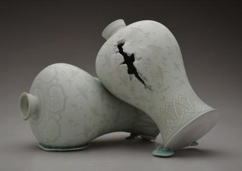 "Steven Young Lee, ""Maebyong Vases"" 2016, porcelain, white slip, glaze, 14 x 20 x 14""."