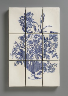 "Giselle Hicks. ""Untitled Still Life"" 2012, porcelain inlaid slip, glaze, 27 x 18 x 2""."